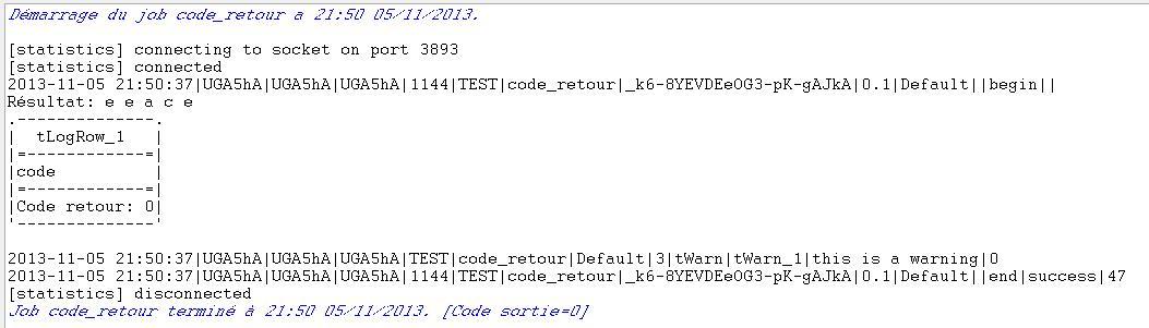 Talend Code retour zéro