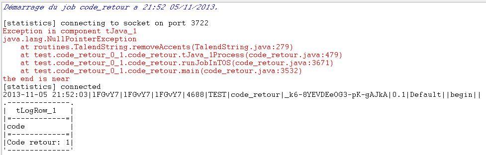 Talend code retour un