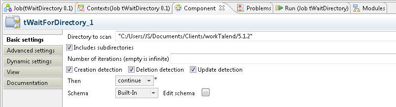 Talend paramétrage composant tWaitForDirectory