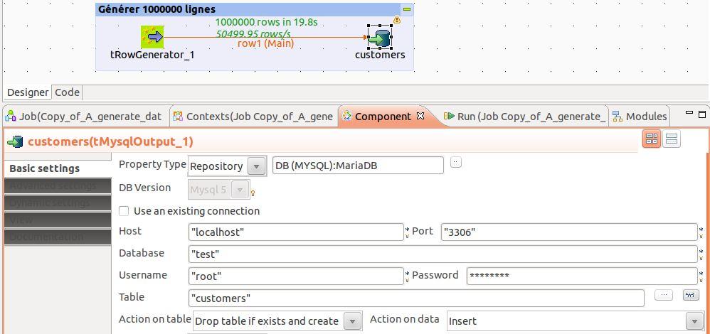 Chargement données dans MaraiDB avec Talend