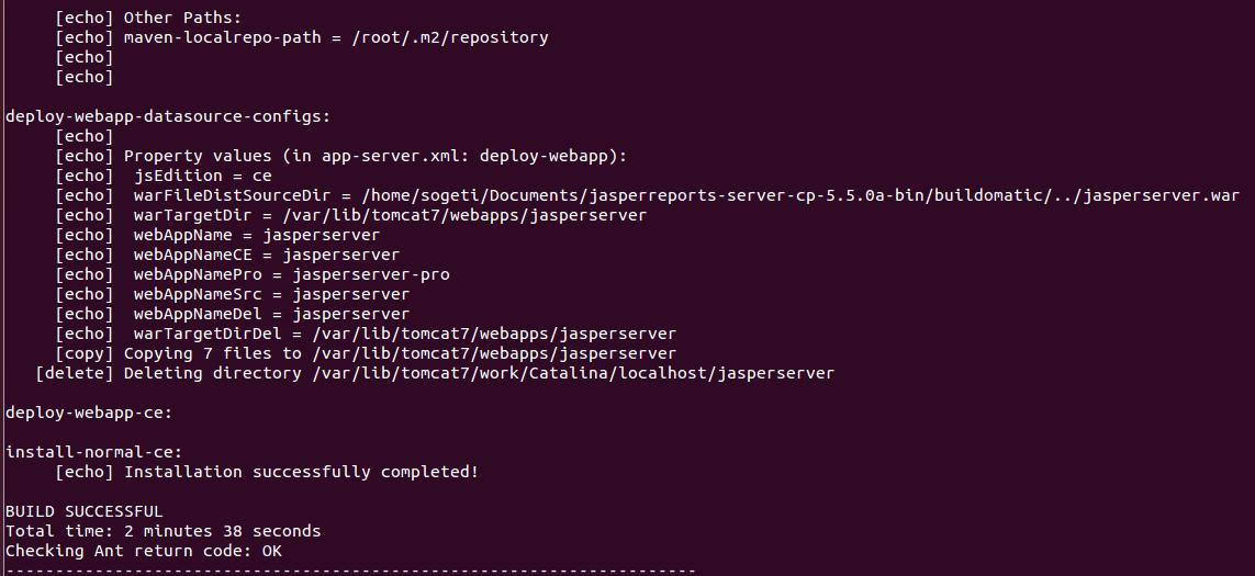 Fin de l'installation de JasperReports server