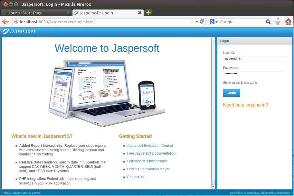 Ecran accueil JasperReports server