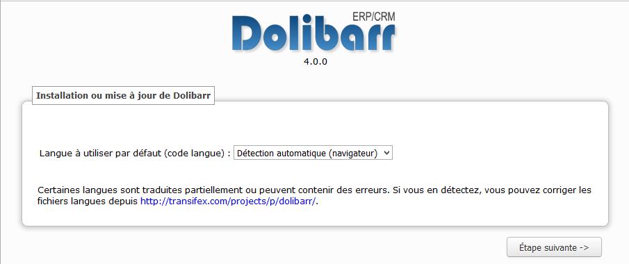Dolibarr accueil installation